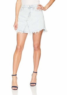 7 For All Mankind Women's Scallop Frayed Hem Jean Skirt