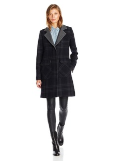 7 For All Mankind Women's Single Breasted Wool Boyfriend Coat With Double Faced Outside To Solid Inside