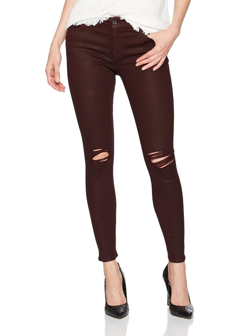 7 For All Mankind Women's Skinny Coated Sheen Jean Ankle Pant Destroy Scarlett
