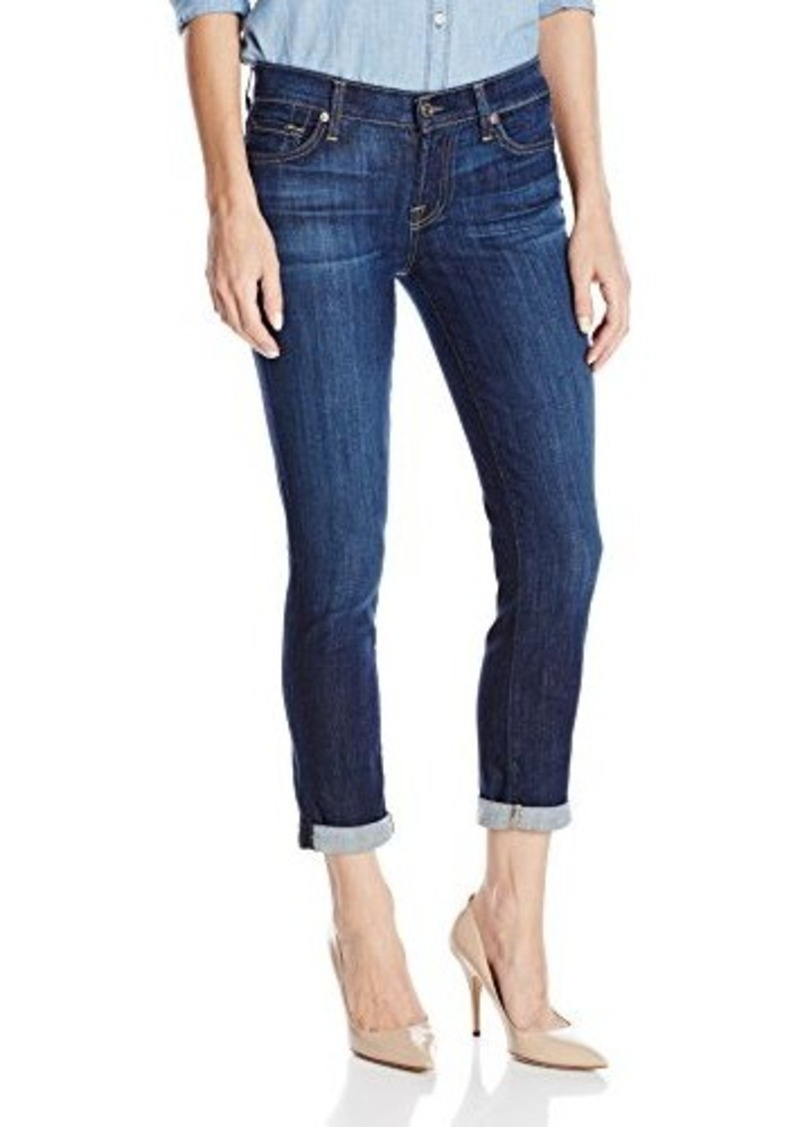 7 for all mankind 7 for all mankind women 39 s skinny crop and roll jean in denim shop it to me. Black Bedroom Furniture Sets. Home Design Ideas