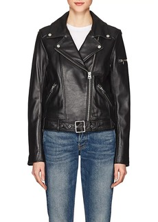 7 For All Mankind Women's Smooth Leather Biker Jacket