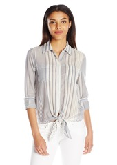 7 For All Mankind Women's Striped Tie-Front Shirt  S