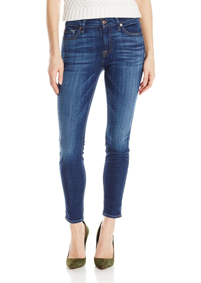 7 For All Mankind Women's The Ankle Skinny Jean in Brillian Blue Broken Twill Brilliant