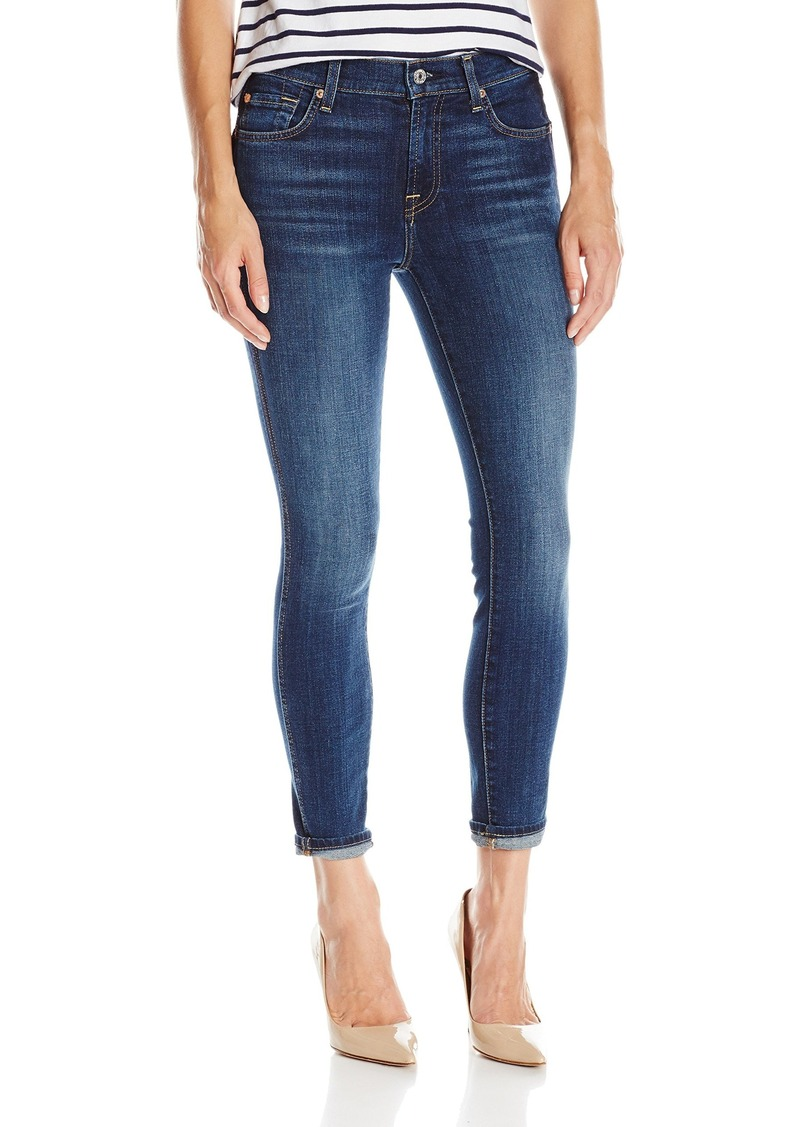 7 For All Mankind Women's The Ankle Skinny Jean with Shadow Back Pockets Medium Blue