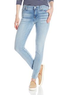 7 For All Mankind Women's the Ankle Skinny Jean with Bleach in Santorini Light Aqua Santorini Light Aqua with Bleach