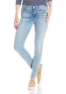 7 For All Mankind Women's the Ankle Skinny Jean with Santorini Light Aqua with Bleach