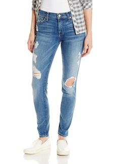 7 For All Mankind Women's the Skinny W/ Contrast Squiggle and Destroy Jean in