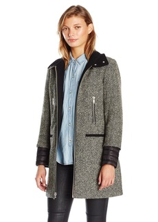 7 For All Mankind Women's Zip Front Fitted Tweed Wool Coat With Inside Quilting