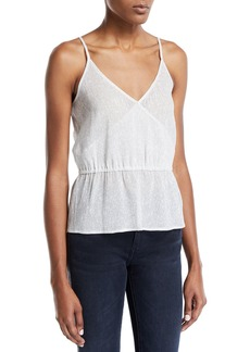 7 For All Mankind Wrap-Front Metallic Cami