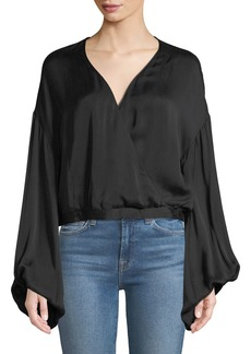 7 For All Mankind Wrap-Front Oversized-Sleeve Cotton Woven Top
