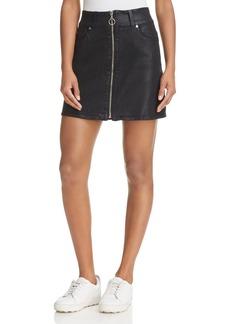 7 For All Mankind Zip Front Coated Denim Mini Skirt