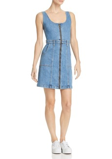 7 For All Mankind Zip-Front Denim Dress