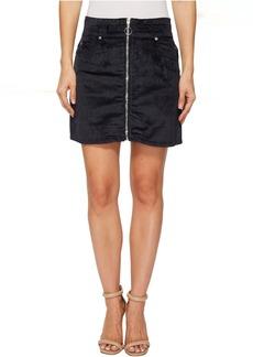 Zip Front Mini Skirt in Navy
