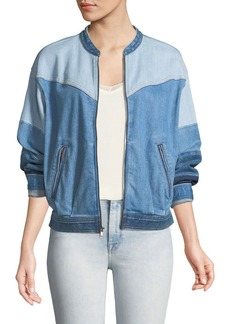 7 For All Mankind Zip-Front Patchwork Denim Bomber Jacket