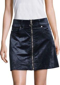 7 For All Mankind Zip-Front Velvet Mini Skirt