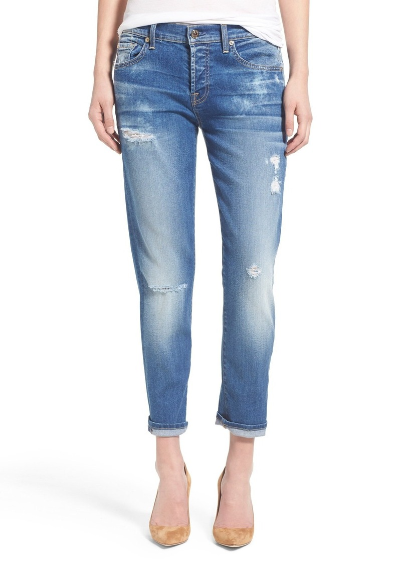 7 For All Mankind® 'Josefina' Mid Rise Boyfriend Jeans (Bright Bluebell)