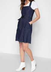 7 For All Mankind A Line Belted Dress in Luxe Lounge Deep Blue