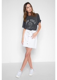 A-Line Skirt with Released Pockets in White