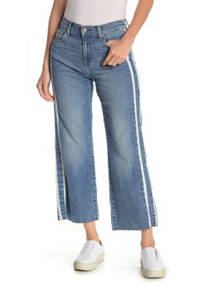 7 For All Mankind Alexa Side Stripe Cropped Raw Hem Jeans