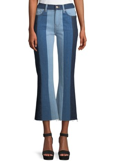 7 For All Mankind Ali Patchwork Crop Flare Jeans
