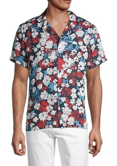 7 For All Mankind Aloha Button-Up Linen Short-Sleeve Shirt