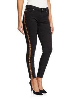 7 For All Mankind Ankle Gwenevere Animal Print Side Stripe Jeans