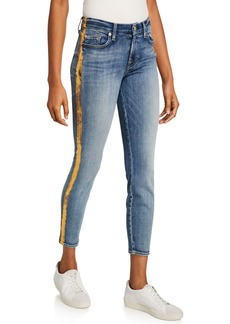 7 For All Mankind Ankle Gwenevere Metallic Side Stripe Jeans