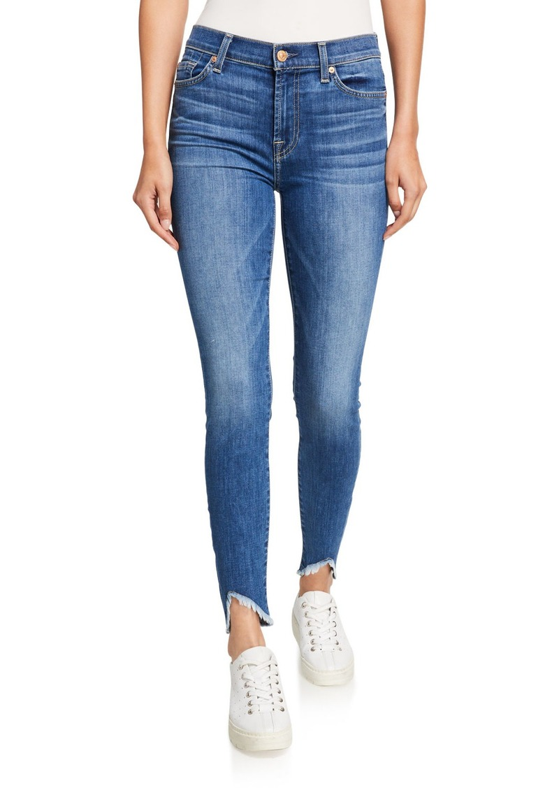 7 For All Mankind Ankle Gwenevere Squiggle-Pocket Jeans with Wave Frayed Hem