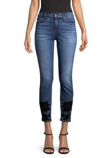 7 For All Mankind Ankle Skinny Floral Applique Skinny Jeans