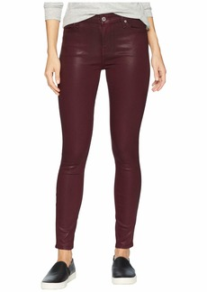 7 For All Mankind Ankle Skinny in Bordeaux Coated Color