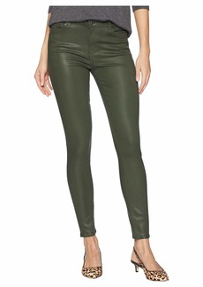 7 For All Mankind Ankle Skinny in Moss Green Coated Color