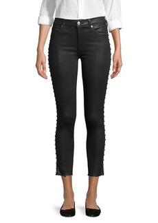 7 For All Mankind Coated Ankle Skinny with Studs