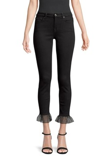 7 For All Mankind Ankle Skinny Ruffle Cropped Jeans