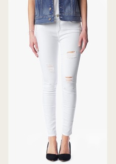 7 For All Mankind Ankle Skinny With Destroy in Clean White