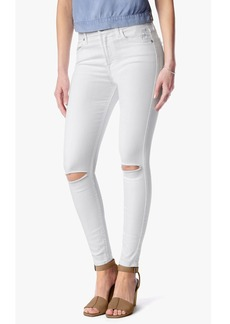 """Ankle Skinny with Knee Holes in Clean White (28"""" Inseam)"""