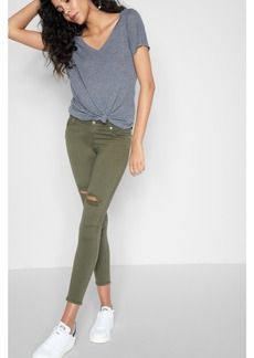 Ankle Skinny with Knee Holes in Olive