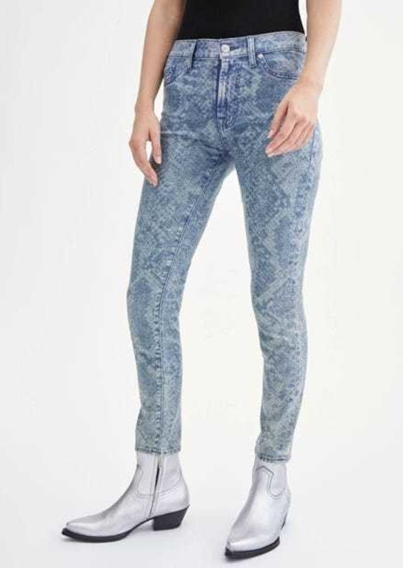 7 For All Mankind Ankle Skinny with Laser Indigo Snake & Faux Pockets in Reed