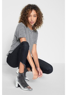 Ankle Skinny with Raw Angled Hem in New York Rinse