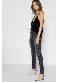 Ankle Skinny with Studs in Vintage Noir