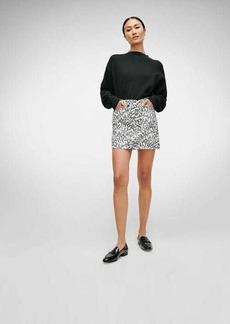 7 For All Mankind Asymmetric Skirt in Black/White