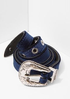 7 For All Mankind B-Low The Belt Baby Frank Velvet Belt in Navy and Silver