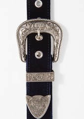 7 For All Mankind B-Low The Belt Bri Bri Velvet Belt in Navy and Silver