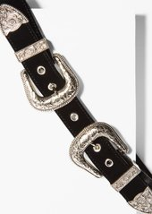 7 For All Mankind B-Low The Belt Bri Bri Velvet in Black and Silver