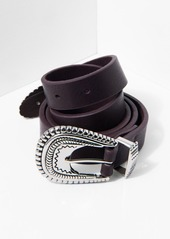 7 For All Mankind B-Low The Belt Wyatt Belt in Oxblood and Silver