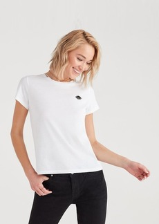 7 For All Mankind Baby Tee with Micro Eye Applique in Optic White