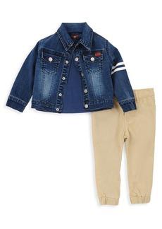 7 For All Mankind Baby's & Little Boy's Three-Piece Denim Jacket, Tee & Pants Set
