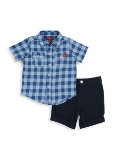 7 For All Mankind Baby's & Little Boy's Two-Piece Plaid Shirt & Shorts Set