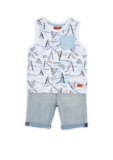 7 For All Mankind Baby's & Little Boy's Two-Piece Tee & Shorts Set
