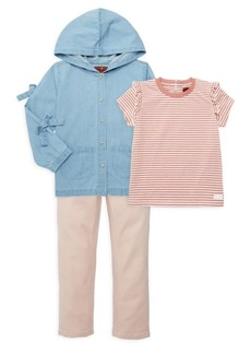 7 For All Mankind Baby's & Little Girl's Three-Piece Denim Jacket, Tee & Pants Set
