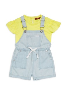 7 For All Mankind Baby's & Little Girl's Two-Piece Overall Set